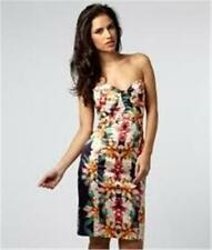 LIPSY Bandeau Pleated Bodice Strapless Lotus Love Print Dress 4 US / 8 UK