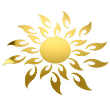 Gold 3D Acrylic Sunflower Mirror Effect Sticker Home Wall Decoration ED
