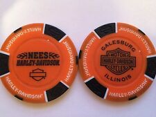 NEES HARLEY DAVIDSON POKER CHIP (ORANGE & BLACK) GALESBURG, ILLINOIS IL