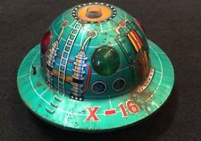 Vintage Tin Litho Space Toys Space Patrol X-16 Saucer Battery Op Japan