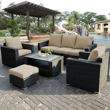7PC Outdoor Patio Patio Sectional Furniture PE Wicker Rattan Sofa Set Deck