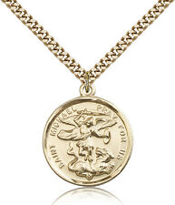 """Saint Michael The Archangel Medal For Men - Gold Filled Necklace On 24"""" Chain..."""