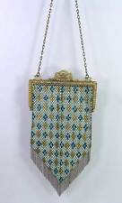 Antique 1920s Flapper Art Deco Mandalian Enamel Mesh Fringe Purse Bag