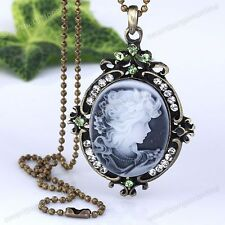 1pc Vintage Bronze Crystal Resin Cameo Beauty Pendant Womens Necklace Chain Gift