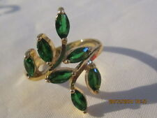 Yellow Gold Filled  Ring with Green Swar Crystal Leaves - Size 8