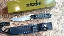 "Survivor Fixed Blade Full Tang 8"" knife with Gut Hook Nylon Fiver Rubber Handle"
