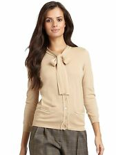 MOSCHINO $1029 BEIGE TAN WOOL SILK CASHMERE PEARL BOW CARDIGAN SWEATER* 4 /I-38