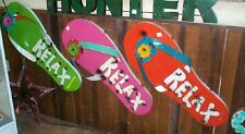 Rustic 3D Tin Metal Relax Flip Flop Sign Garden Decor Art Green Recycled Product