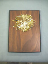 6 x 8  coaches plaque walnut finish award trophy gold