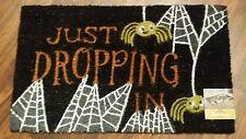 """Halloween Coir Doormat Spider Just Dropping In Welcome Entry Door 18"""" x 30"""" NEW"""