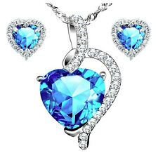 Sterling Silver Heart Cut Created Blue Topaz Pendant Necklace & Earring Set