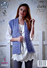 KNITTING PATTERN Ladies Sleeveless Cable Waistcoat Chunky King Cole 4723