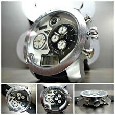 Men's OVERSIZE SPORT MILITARY FASHION 3 Multi Time Zone COOL Silver WRIST WATCH
