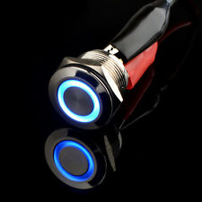 19mm Angel Eye Blue LED Light 5A/250V Push Button Switch Momentary Stainless