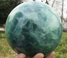 80mm +stand Glow In The Dark Stone crystal Fluorite sphere ball Iceland SPAR