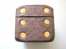 POKER DICE VINTAGE ANTIQUE LEATHER CUBE CONTAINING POKER DICE X5 & 3 SPOT DICE
