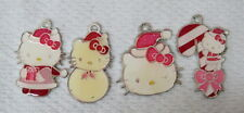 Lot 4 Hello Kitty Christmas Necklace Pendants Charms Pink White 76 06 Sanrio D1
