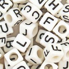 Assortiment de 500 perles cubiques lettres ALPHABET en acrylique blanc, 6mm