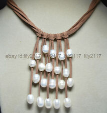 Fashion Brown Leather Rope & White Freshwater Pearl Choker Necklace Handmade