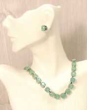 Cup Chain Necklace ~ MINT GREEN NECKLACE made w/ PACIFIC OPAL Swarovski Crystals