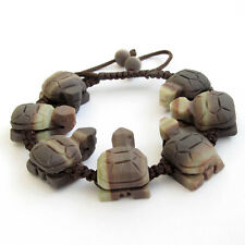 20mm Two Layer Natural Stone Turtle Tibet Buddhist Prayer Beads Mala Bracelet