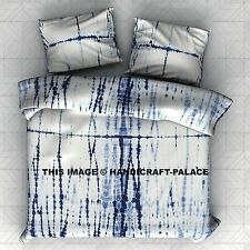 Indigo Blue Tye Dye Shibori Streak Dyed Jersey Full/Queen Duvet Cover Set Indian