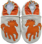carozoo soft sole leather baby shoes horse cream 6-12m