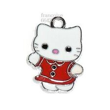 HK27// BRELOQUE CHARM PERLE / HELLO KITTY ROBE ROUGE / CREATION BIJOUX BRACELET
