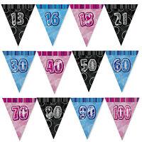 13th-100th 12 Feet Glitz Triangle Flag Banner Bunting Birthday Decorations