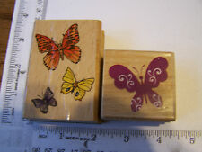 WM RUBBER STAMPS BUTTERFLIES TRIO  SCROLLED BUTTERFLY INSECTS