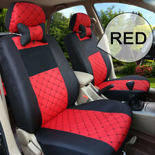 Red Car Seat Cover Set Full Seats Rear Cushion Headrest Winter CUSTOM MADE