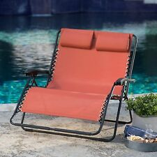 Zero Gravity Chair 2-Person Patio Love Seat Outdoor Home Living Furniture Deck