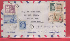 25 cen airmail rate to KOREA with receivers Canada cover 1958