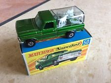 MATCHBOX SUPERFAST No 50a KENNEL TRUCK, DK GREEN , LT Yellow BASE, BOXED