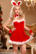 Sexy Christmas Bunny 4 pieces Costume lingerie hot red velvet marabou trimmed