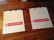 "PAIR OF KENWORTH Semi Truck Mud Flaps 24"" x 30"" White Poly with hangers"