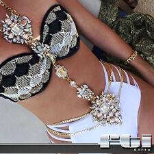 Crystal Rhinestone Necklace Long Waist Body Chain Jewelry Bikini Beach Vacation