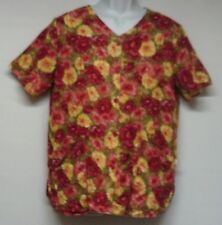 Women's Size Small Scrub Pink Red Yellow Floral Medical Nursing