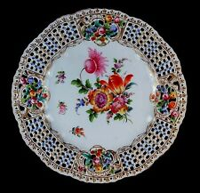 ANTIQUE DRESDEN RETICULATED RAISED JEWEL HAND PAINTED CARL THIEME CABINET PLATE!