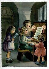 Serie Completa di 6 cartoline Bambini in Chiesa Musica Coro Natale PC Circa 1940