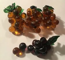 Vintage Hand Blown Glass Grapes Clusters Purple Amber Brown Glass Leaf Wire