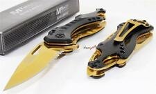 MTech Black Gold Biker Bottle Opener Speed Spring Assisted Opening Rescue Knife