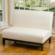Modern Design Ivory Leather Sofa Loveseat