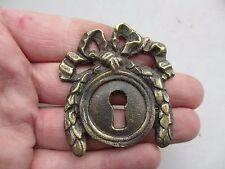 Vintage Brass Keyhole Escutcheon Plate Rococo Baroque Gilt Leaf Ribbon Wreath