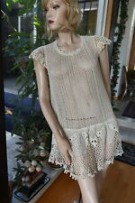 Vintage Unique and Classic All Hand Made Cotton Hand Crochet Dress Natural Fit S