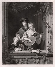 "PHILIP VANDYKE 1800s Antique Engraving ""Mother Playing a Mandolin"" SIGNED COA"