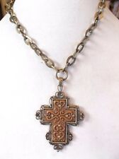 Robert Rose Brown Acrylic Large Cross Pendant And Chain Necklace