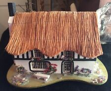Vintage REUGE Music Box Country Cottage Thatched Roof Pauline Ralph Hand Crafted