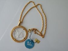 Crown Trifari Aquarius Gold plate pendant, chain. Zodiac Sign Necklace. Tag. NOS