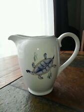 Arabia Finland Aquarium Mid Century Hand Painted Pitcher with Turtle and Fish